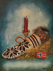 a troll inside a selbu mitten at candlelight